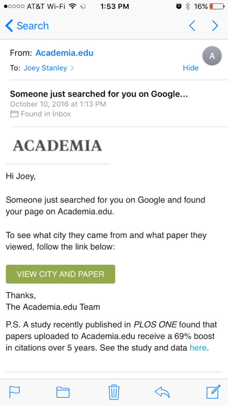 Academia.edu email screenshot